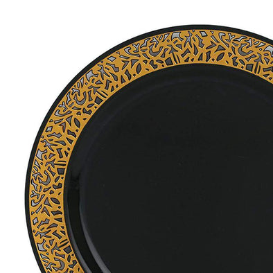 "10.25"" Black with Gold Lace Rim Plastic Dinner Plates"