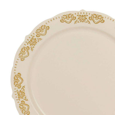 "7.5"" Ivory with Gold Embossed Rim Plastic Appetizer/Salad Plates"