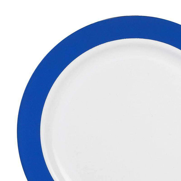White with Solid Blue Radian Rim Disposable Plastic Wedding Appetizer/Salad Plates