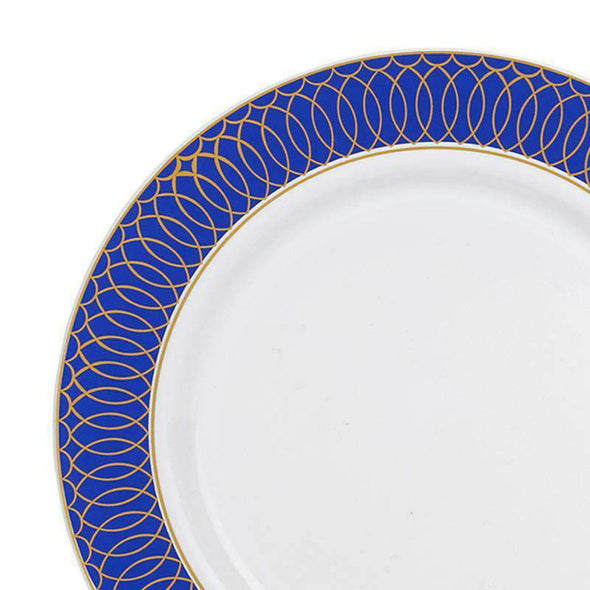 White with Gold Spiral on Blue Rim Disposable Plastic Wedding Appetizer/Salad Plates