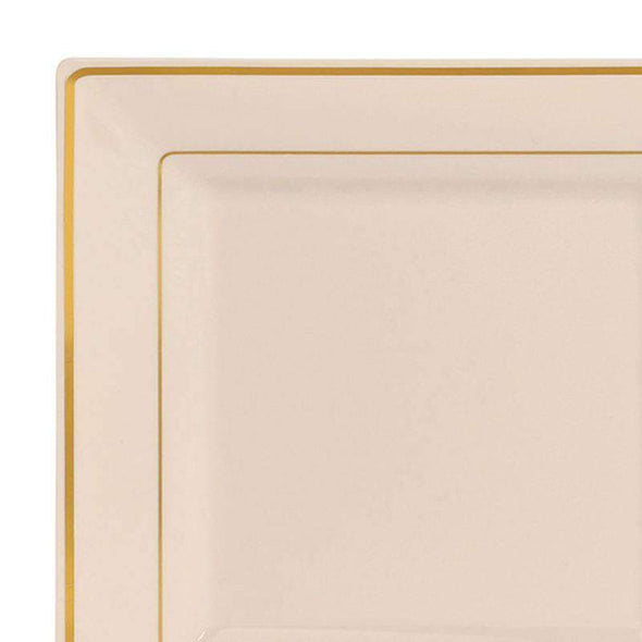 Ivory with Gold Square Edge Rim Disposable  Plastic Wedding Dinner Plates