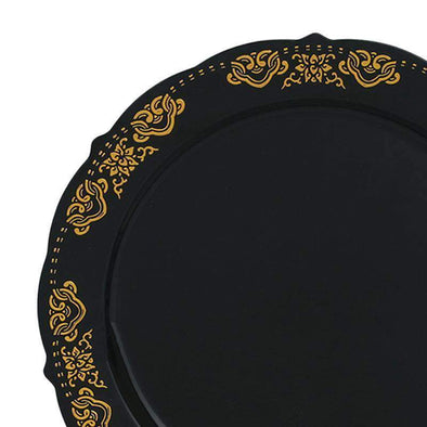 "7.5"" Black with Gold Embossed Rim Plastic Appetizer/Salad Plates"