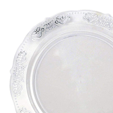 "10.25"" Clear with Silver Embossed Rim Plastic Dinner Plates"