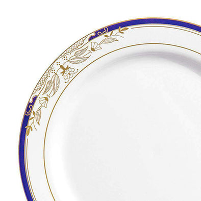 "10.25"" White with Blue and Gold Harmony Rim Plastic Dinner Plates"