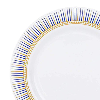 White with Blue and Gold Backgammon Rim Disposable  Plastic Wedding Appetizer/Salad Plates
