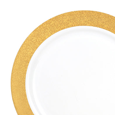 "10.25"" White with Gold Glitter Rim Plastic Dinner Plates"