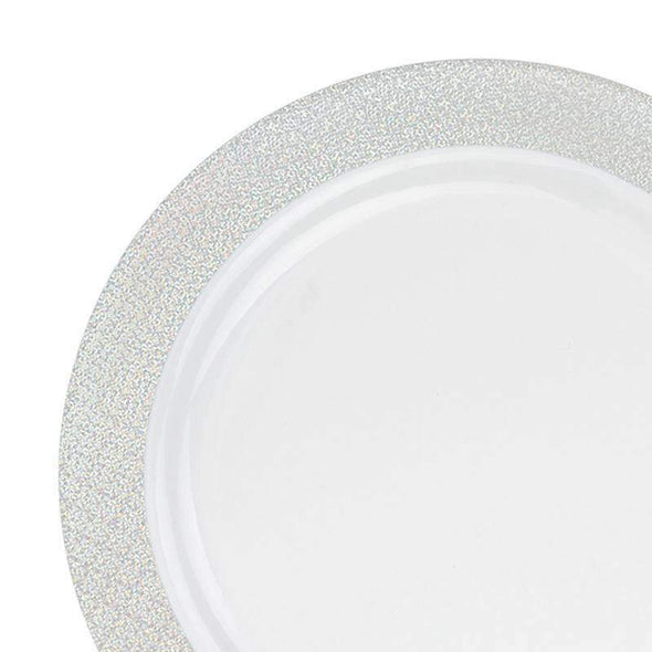 White with Glitter Silver Rim Disposable Wedding Plastic Dinner Plates
