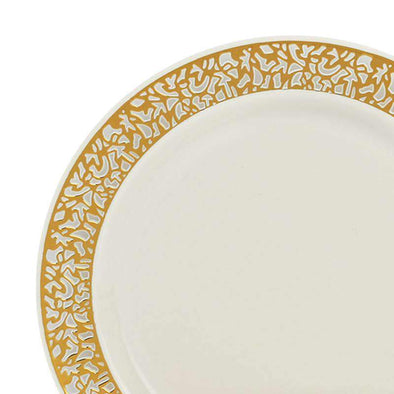 Ivory with Gold Lace Rim Disposable Wedding Plastic Appetizer/Salad Plates