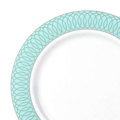 White with Silver Spiral on Green Rim Disposable Wedding Plastic Dinner Plates