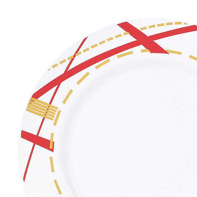 White with Red and Gold Potpourri Rim Disposable Wedding Plastic Dinner Plates