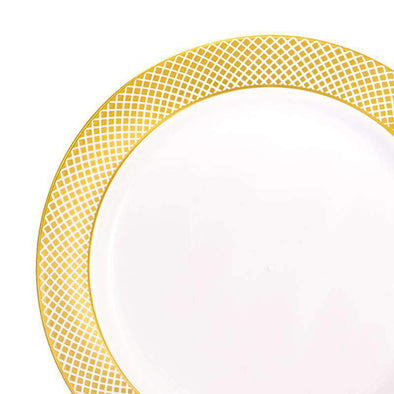 "10.25"" White with Gold Diamond Rim Plastic Dinner Plates"