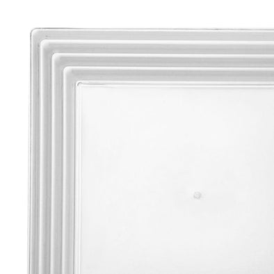 "12"" x 12"" Clear Square with Groove Rim Plastic Serving Trays"