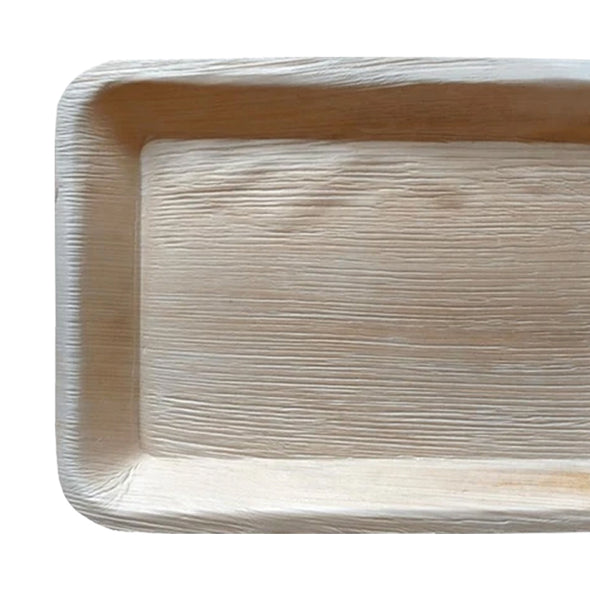 "14"" x 10"" Rectangular Natural Palm Leaf Eco-Friendly Disposable Trays"