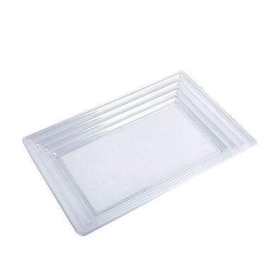 "11"" x 16"" Clear Rectangular with Groove Rim Plastic Serving Trays"