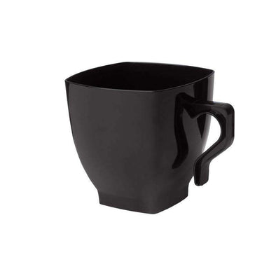 2 oz. Black Square Plastic Mini Coffee Tea Cups