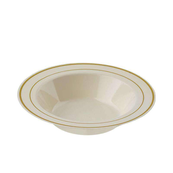 Ivory with Gold Edge Rim Disposable Plastic Wedding Soup Bowls