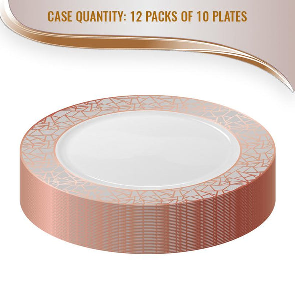 "10.25"" White with Rose Gold and Silver Mosaic Rim Round Plastic Dinner Plates"