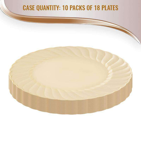 Ivory Flair Disposable Wedding Plastic Buffet Plates