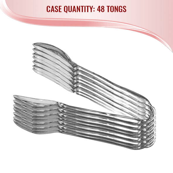 "11"" Silver Disposable Plastic Serving Tongs"