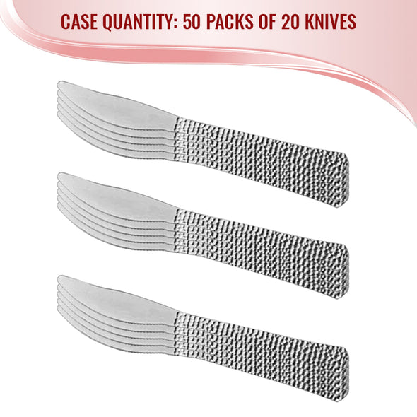 Shiny Metallic Silver Hammered Plastic Knives