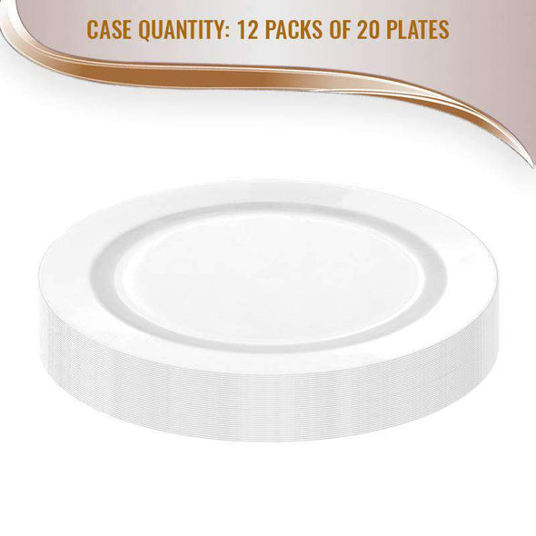 White Economy Extra Heavyweight Disposable Plastic Wedding Dinner Plates