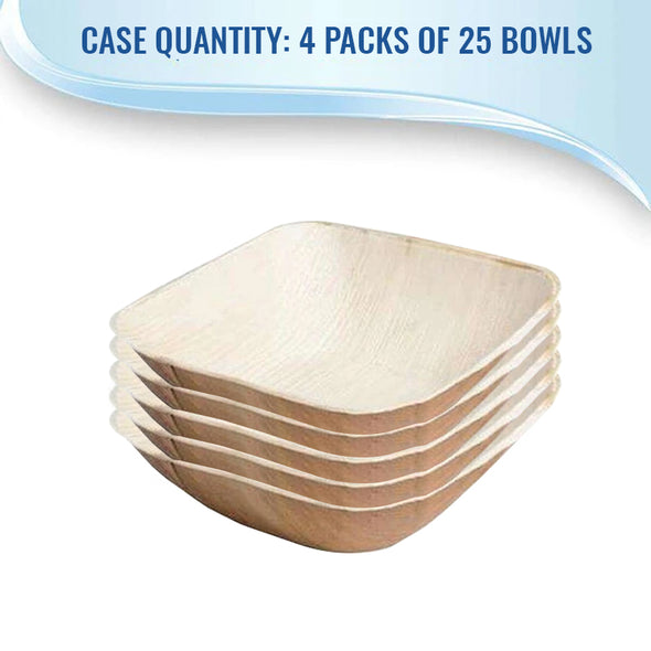12 oz. Square Palm Leaf Eco Friendly Disposable Soup Bowls