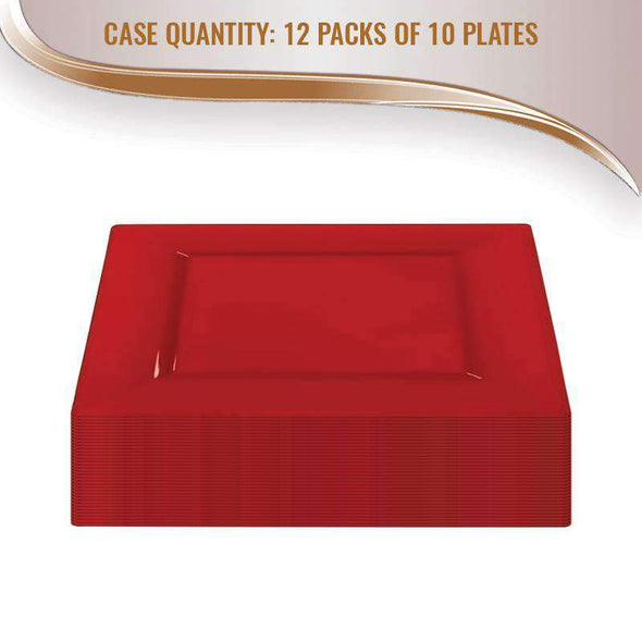 "9.5"" Red Square Plastic Dinner Plates"