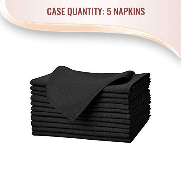 Black Polyester Linen Dinner Napkins