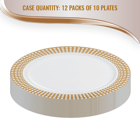 "10.25"" White with Gold Checkered Rim Plastic Dinner Plates"