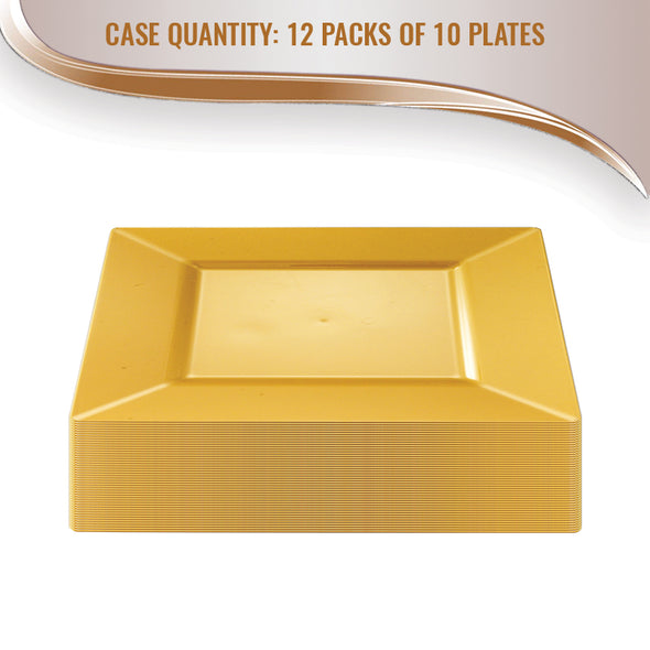 "10.75"" Gold Square Plastic Dinner Plates"