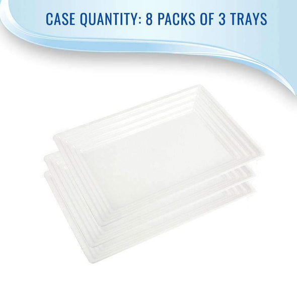 Disposable White Rectangular with Groove Rim Wedding Plastic Serving Trays