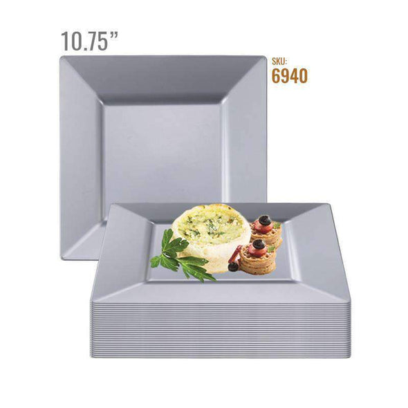 "10.75"" Silver Square Plastic Dinner Plates"