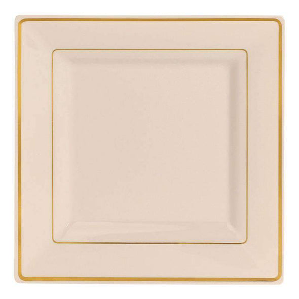 "6.5"" Ivory with Gold Square Edge Rim Plastic Cake Plates"