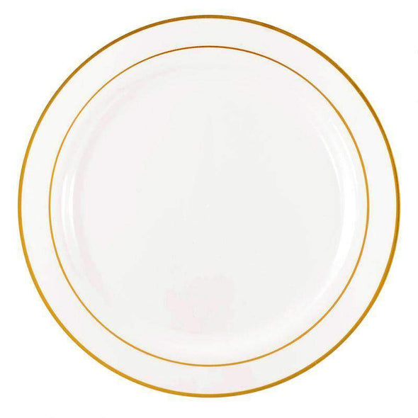 White with Gold Edge Rim Disposable Plastic Wedding Dinner Plates