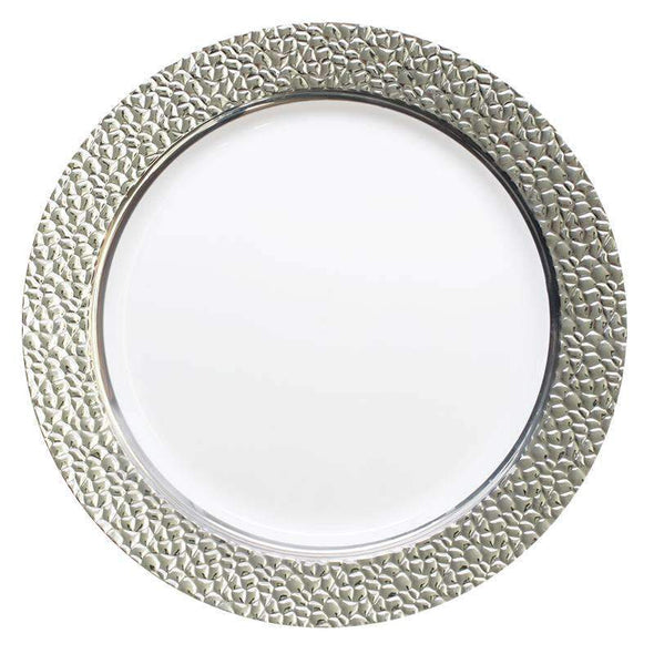 "10.25"" White with Silver Hammered Rim Plastic Dinner Plates"