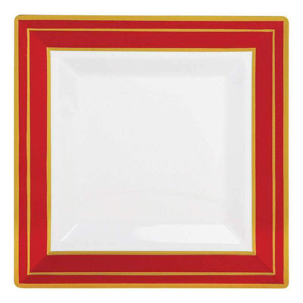 White with Red and Gold Square Edge Rim Disposable Plastic Wedding Dinner Plates
