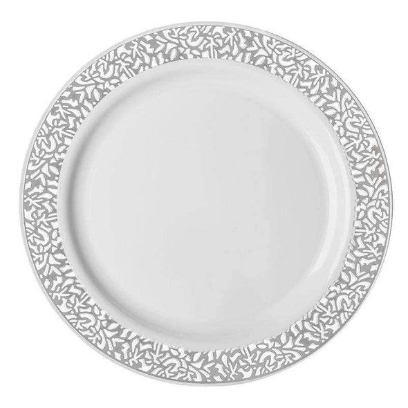 White with Silver Lace Rim Disposable  Plastic Wedding Appetizer/Salad Plates