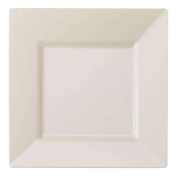 Ivory Square Disposable Plastic Wedding Dinner Plates