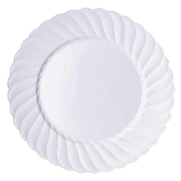"10.25"" White Flair Plastic Dinner Plates"