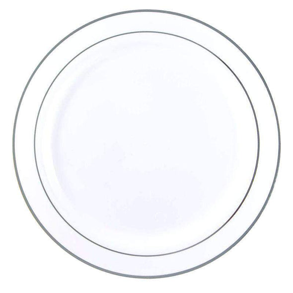 "9"" White with Silver Edge Rim Plastic Buffet Plates"