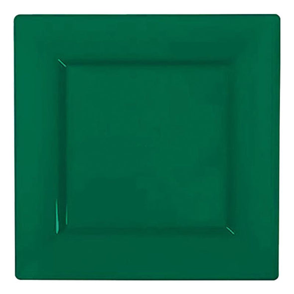 "6.5"" Hunter Green Square Plastic Cake Plates"