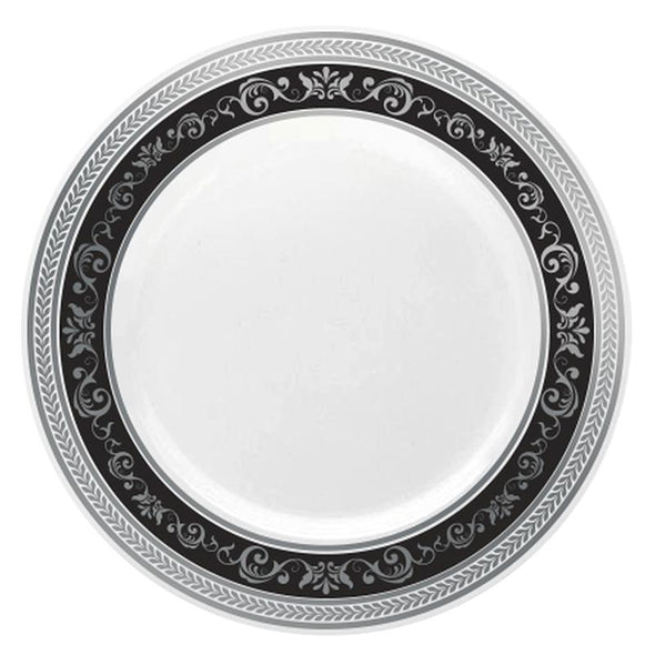 "7.5"" White with Black and Silver Royal Rim Plastic Appetizer/Salad Plates"