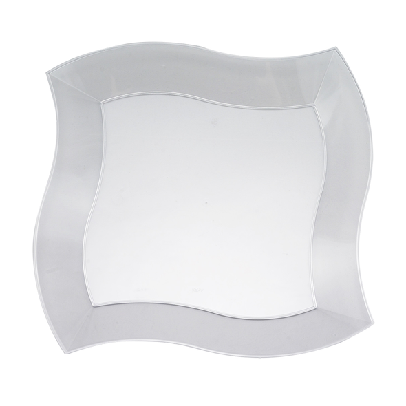 "10"" Clear Wave Plastic Dinner Plates"
