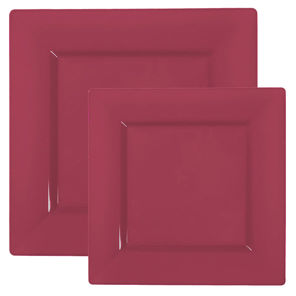 Quad Burgundy Square Plastic Plates Dinnerware Value Set