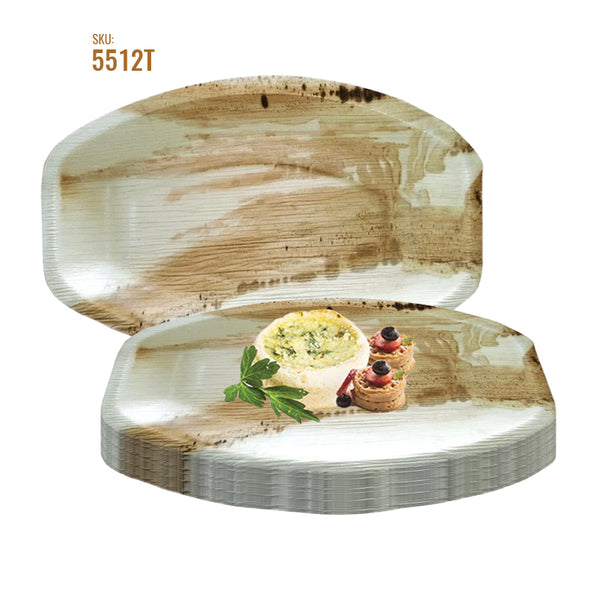 "11.5"" x 7.5"" Oval Natural Palm Leaf Eco-Friendly Disposable Trays"