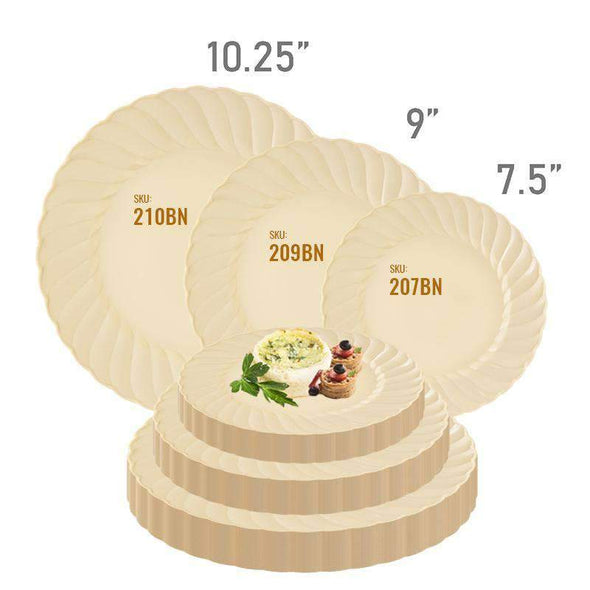 Ivory Flair Disposable Wedding Plastic Dinner Plates