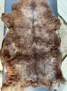 Mystery Sheepskin - large dark brown gray 42 x 28 inches