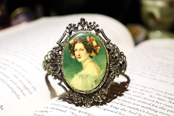 Antique Portrait Cuff Bracelet