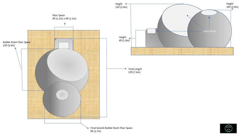 Image of Bubble Huts - Double Bubble Lodge 12ft + 9ft Second Room