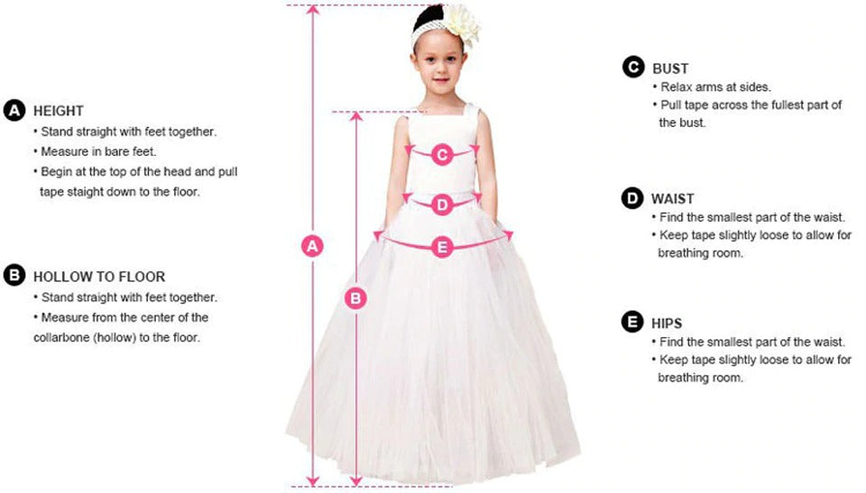 flower girl-kids dress sizing chart